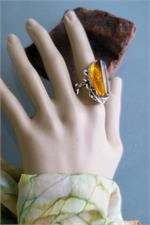 Real amber and silver ring